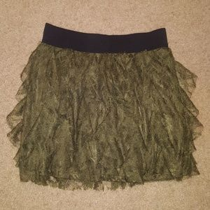 Green Layered Lace Express Skirt